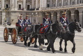 Spain, Madrid, Palacio Real, Royal Palace Guards on parade.