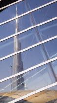 United Arab Emirates, Dubai, Glass reflection of Burj Khalifa tower.