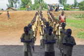 Burundi, Cibitoke Province, Buganda Commune, Ruhagurika Primary Students lining up ready to go into their Catch-Up Class. Catch up classes were established by Concern Worldwide across a number of scho...