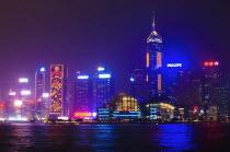 China, Hong Kong, Kowloon, Tsim Sha Tsui, Neon lights of Hong Kong Island.