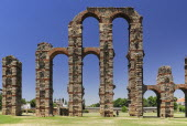 Spain, Extremadura, Merida, Los Milagros Aqueduct built by the Romans in the first century BC.