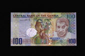 Gambia, Gambian currency 100 Dalasis bank note.