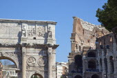 Italy, Lazio, Rome, The Arch of Constantine with the Coliseum behind.