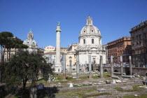 Italy, Lazio, Rome, Trajans Column near Quirinal Hill.
