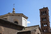 Italy, Lazio, Rome, Church roof with bell tower.