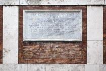 Italy, Lazio, Rome, Marble plaque in the walls beneath Piazza del Quirinale.