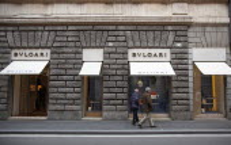 Italy, Lazio, Rome, Via del Condotti, Exterior of the Bulgari Handbag shop.