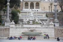 Italy, Lazio, Rome, Fountain in Piazza del Popolo.
