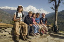 Nepal, Pokhara. Western children trekking in Himalayan Nepali hills near Pokhara.
