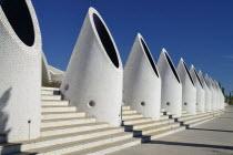 Spain, Valencia Province, Valencia, La Ciudad de las Artes y las Ciencias, City of Arts and Sciences, Pillars on the Umbracle sculpture garden.