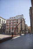 Spain, Catalonia, Barcelona, Fossar de les Moreres in the Placa de Santa Maria de Mar.
