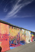 Germany, Berlin, The East Side Gallery, a 1.3  km long section of the Berlin Wall, Another colourful section.