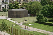 Germany, Berlin, Gedenkstatte Berliner Mauer also known as the Berlin Wall Memorial Exhibition at Bernauer Strasse, the restored Chapel of Reconciliation which was once within the death strip and thus...