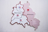 Germany, Berlin, Checkpoint Charlie, Open air exhibition showing map of divided Berlin.