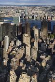 USA, New York,  Manhattan, View from Empire State building over midtown skyscrapers and East River towards Queens and Long Island with Art Deco Chrysler Building prominent.