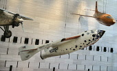 USA, Washington DC, National Mall, National Air and Space Museum, Aeroplane display including Spirit of St Louis.