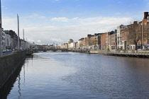 Ireland, Dublin, View along the River Liffey toward the Four Courts..