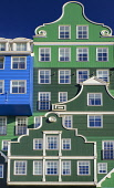 Netherlands, Noord Holland, Zaandam, Frontal view of a section of the Inntel Hotel whose construction design is based on the  traditional house facades of the Zaan Region and featuring The Blue House...