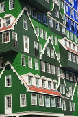 Netherlands, Noord Holland, Zaandam, A section of the Inntel Hotel whose construction design is based on the  traditional house facades of the Zaan Region and featuring in this case The Blue House ins...