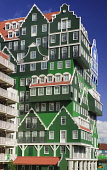 Netherlands, Noord Holland, Zaandam, Rear view of the Inntel Hotel whose construction design is based on the  traditional house facades of the Zaan Region.