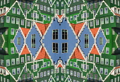 Netherlands, Noord Holland, Zaandam, Composite of sections of the Inntel Hotel whose construction design is based on the  traditional house facades of the Zaan Region.