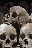 Cambodia, Phnom Penh, Skulls at the Choeung Ek Memorial stupa for victims of the killing fields of the Khmer Rouge.