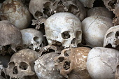 Skulls at the Choeung Ek Memorial stupa for victims of the killing fields of the Khmer Rouge