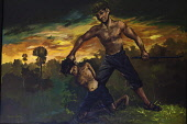 Cambodia, Phnom Penh, Painting by Vann Nath of a prisoner being beaten by a Khmer Rouge cadre with an iron bar at the killing field of Choeung Ek.