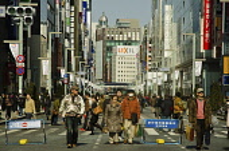 Japan, Tokyo, Ginza, Chuo-dori street  closed to traffic on Sunday.