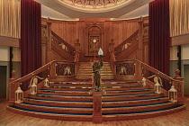 Ireland, Belfast, Titanic Quarter, Titanic Belfast Visitor Experience, Interior showing the replica ballroom stircase/.
