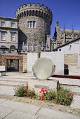 Ireland, Dublin, Dublin Castle, former centre of British rule in Ireland, The Record Tower with the Garda Memorial Garden in the foreground.