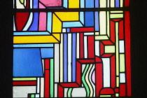 Scotland, Edinburgh, St Mary's Episcopal Cathedral, Sir Eduardo Paolozzi stained glass Millenium windows.