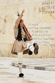 Greece, Attica, Athens, Greek soldier, an Evzone, outside the Parliament building.