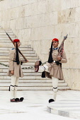 Greece, Attica, Athens, Greek soldiers, Evzones, outside the Parliament building.