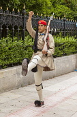 Greece, Attica, Athens, Greek soldier, an Evzone, outside the Presidential Palace.