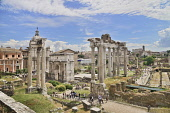 Italy, Rome, View of the Roman Forum from Capitoline Hill with ruins of the Arch of Septimus Severus and the Temple of Saturn prominent.