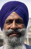 India, Delhi, Head and shoulders portrait of Sikh man with thick greying beard and moustache wearing purple turban.