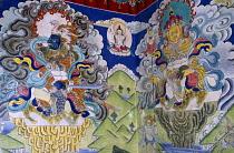 India, Ladakh, Religion, Mural at Buddhist monastery.