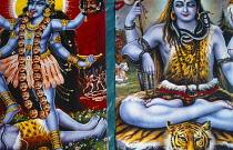 India, Religion, Hindu, Colourful poster of Krishna.