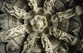 India, Rajasthan, Mount Abu, Detail of intricately carved ceiling of Jain temple.