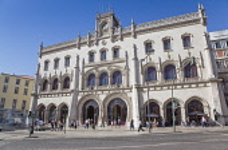 Portugal, Estredmadura, Lisbon, Baixa, Ornate entrance to Rossio railway station.