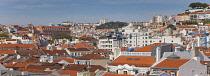 Portugal, Estremadura, Lisbon, Baixa, Panoramic view over rooftops.