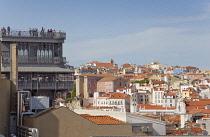 Portugal, Estredmadura, Lisbon, Baixa, Elevador Santa Justa and rooftops.