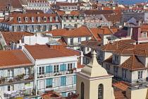 Portugal, Estremadura, Lisbon, View of Baixa rooftops from Chiado.