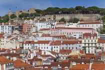 Portugal, Estredmadura, Lisbon, Bairro do Castello, Castelo de Sao Jorge, St Georges castle from Chiado.