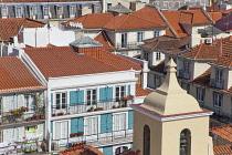Portugal, Estremadura, Lisbon, View over Baixa rooftops from Chiado.