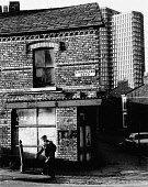 England, Merseyside, Bootle, Old man 'Going for a Pint', 1975.