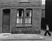 England, Merseyside, Bootle,Terraced house in Seaforth badly shaken by bombing in 1941 but still inhabited in 1974.