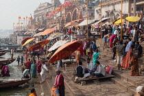 India, Uttar Pradesh, Varanasi, Dashashwamedh Ghat.