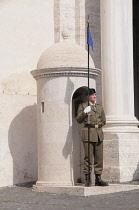 Italy, Lazio, Rome, Quirinal Hill, guard at Piazza del Quirinale.